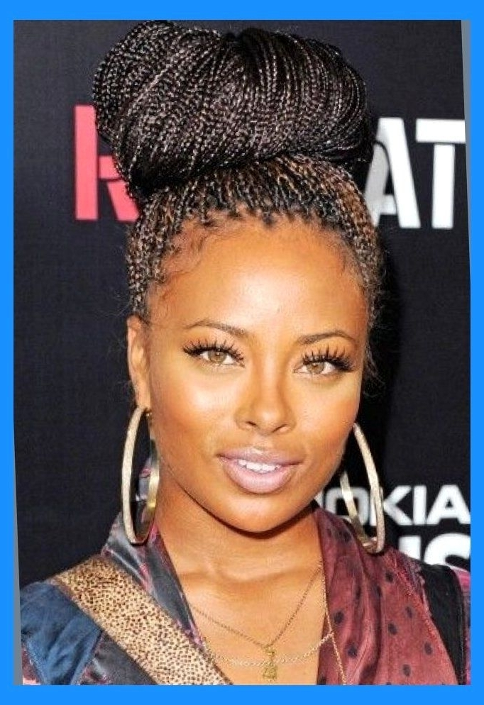 Micro Braids Updo Hairstyles Actual Hairstyles Micro Braids Updo Intended For Current Top Knot Bun With Cascade Of Thin Braids (View 7 of 15)