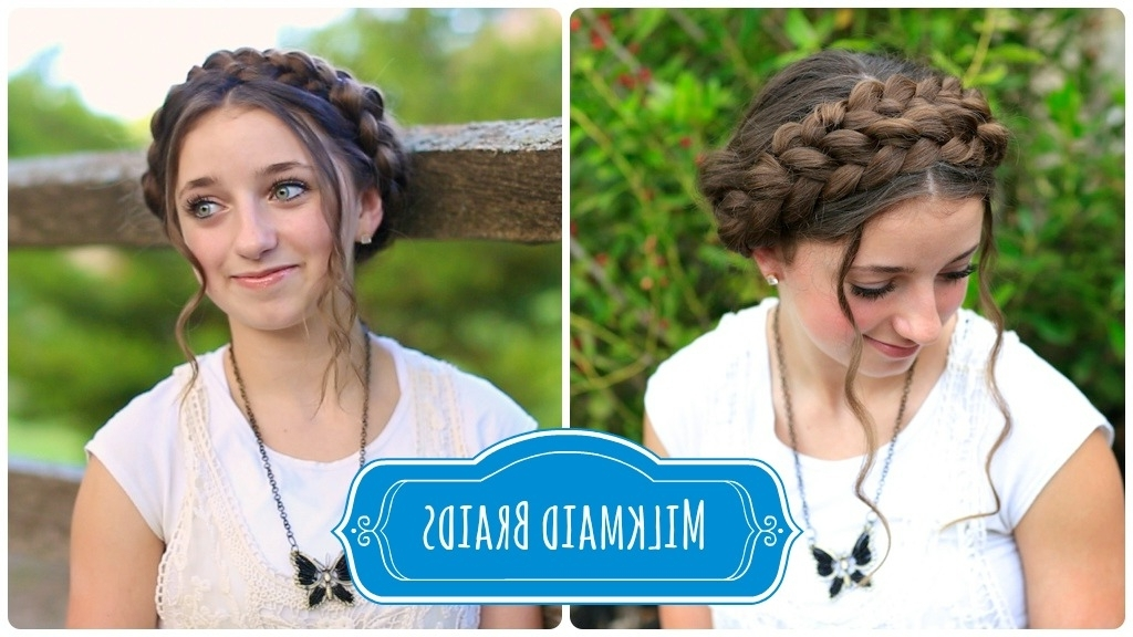 Milkmaid Braid   Cute Summer Hairstyles   Cute Girls Hairstyles Regarding Current Milkmaid Braided Hairstyles (View 5 of 15)