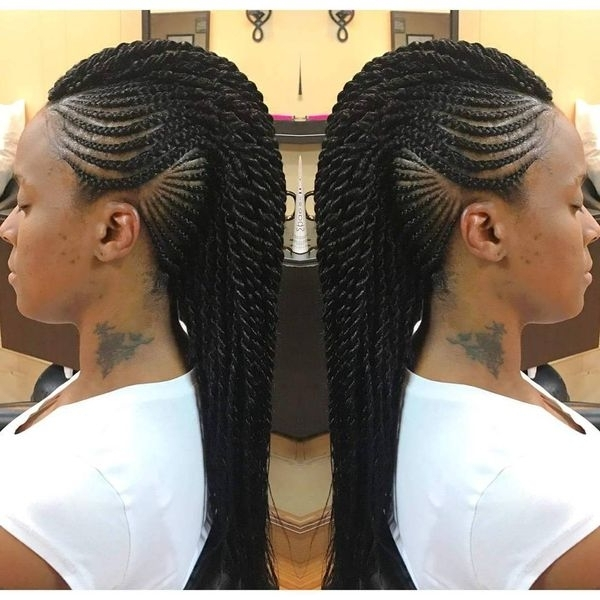 Mohawk Braid Hairstyles, Black Braided Mohawk Hairstyles Inside Best And Newest Chunky Mohawk Braid With Cornrows (View 9 of 15)