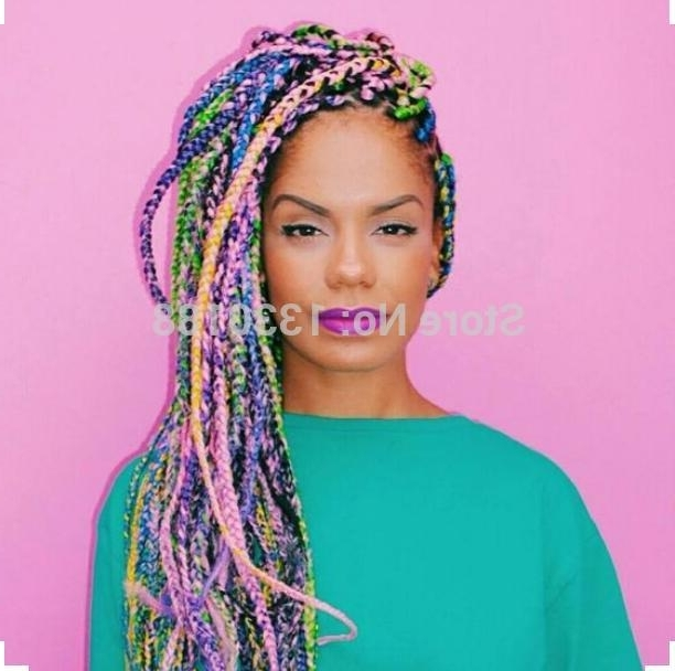 "Multi Colored Box Braids 100Grams 24"" Ombre Rainbow High Temperature With Most Popular Multicolored Jumbo Braid Hairstyles (View 3 of 15)"
