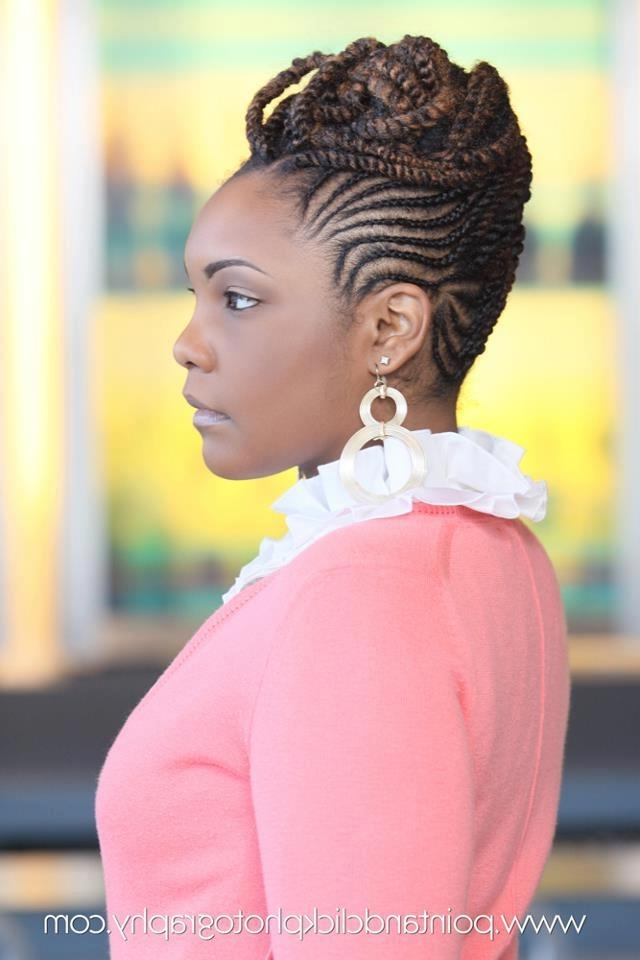 Natural Hair Braided Into Updo | Cornrows And Twists | Black Women pertaining to Most Recent Modern Cornrows Hairstyles