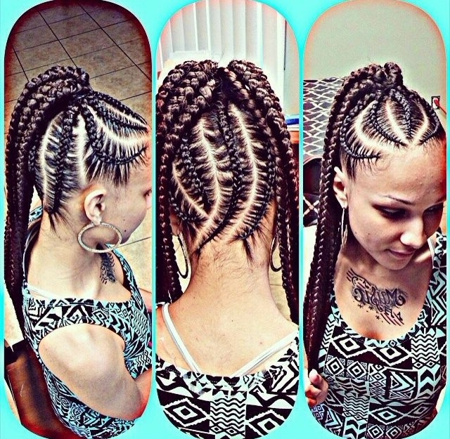 Natural Hair Styles. Protective Styles. Big Braids. Chunky Braids for Most Up-to-Date Asymmetrical Braids With Curly Pony