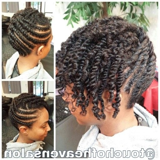 Natural Hair Updo. Two Strand Twists Www.touchofheavensalon with regard to Most Popular Natural Cornrows And Twist Hairstyles