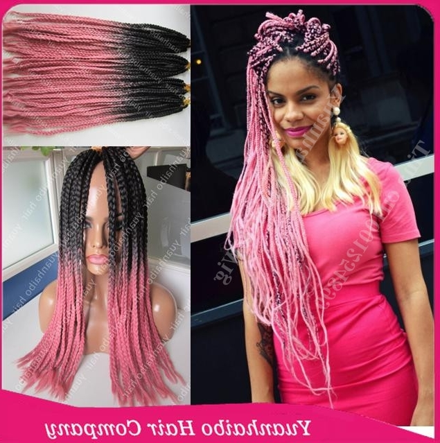 "New Fashion! 22"" Two Tone Synthetic Braiding Hair Black/pink Long With Newest Two Extra Long Braids (View 8 of 15)"