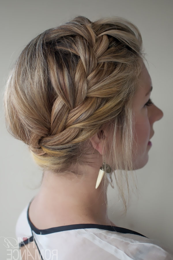 New Stylish French Crown Braid – Beautiful Braided Updo – Hairstyles Regarding Best And Newest French Braid Crown And Bun Updo (View 8 of 15)