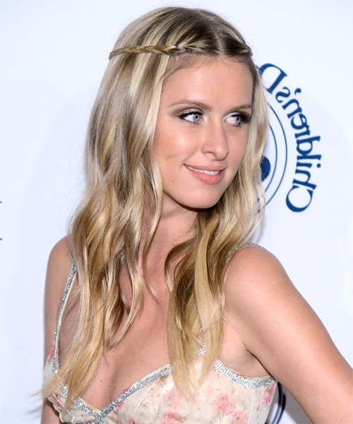 Nicky Hilton Long Straight Casual Braided Hairstyle - Light with Best and Newest Middle Part Braided Hairstyles