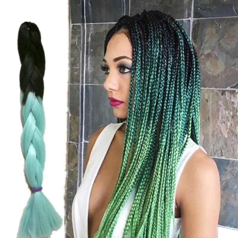 Ombre Kanekalon Jumbo Braiding Hair Colors Gray Purple Brown Blonde throughout Recent Braided Hairstyles With Color
