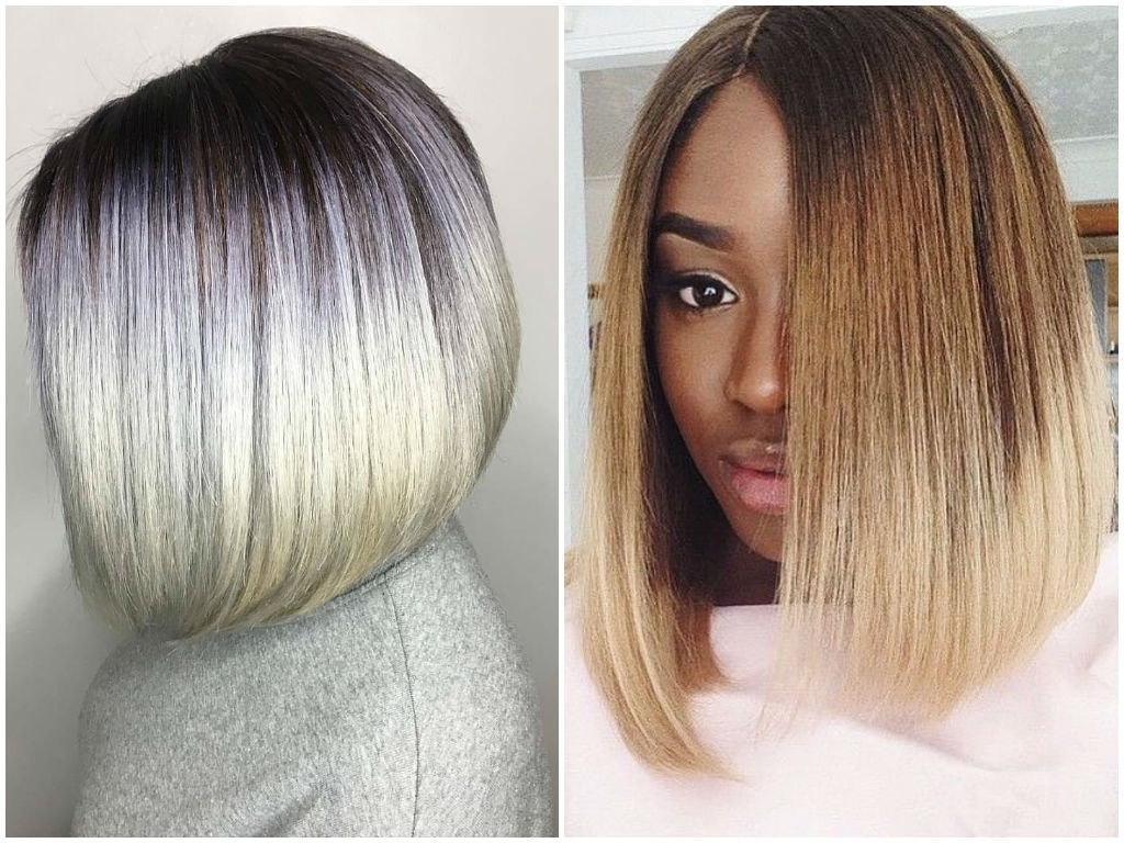 Ombre On Short And Long Bob Hair 2018 in Newest Reverse Gray Ombre For Short Hair