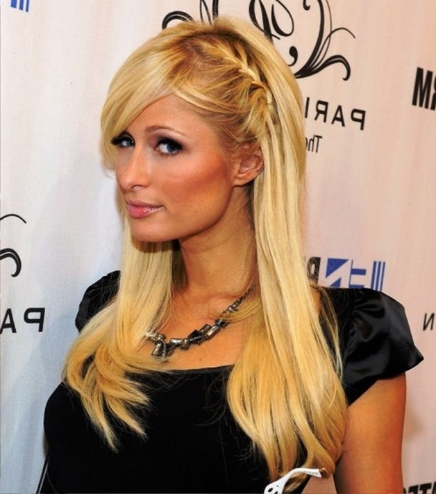 Paris Hilton Cute Braided Hairsyle With Side Bangs | Behairstyles Inside Most Recently Braid And Side Bang Hairstyles (View 9 of 15)