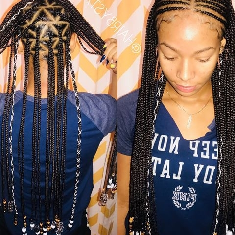 Photos About #lasvegasbraider On Instagram Regarding Most Recent Geometric Tribal Fulani Pattern Braids With Curly Wisps (View 14 of 15)