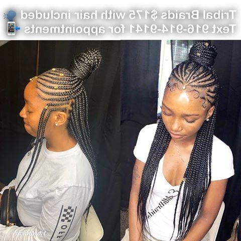 Photos About #lasvegasbraider On Instagram With Regard To Most Current Geometric Tribal Fulani Pattern Braids With Curly Wisps (View 12 of 15)