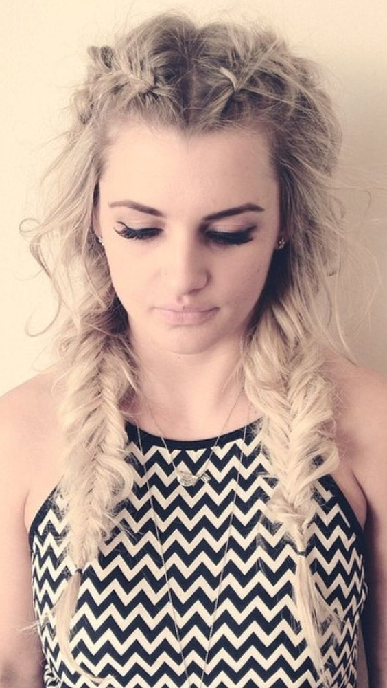 Picture Of Messy Fishtail Braids In Best And Newest Braid Rave Hairstyles (View 13 of 15)