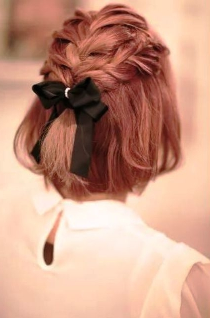 Picture Of Red Short Hair With Braids On Top And A Black Bow With In Most Current Elegant Bow Braid Hairstyles (View 12 of 15)