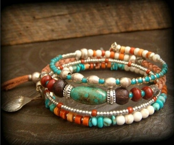 Pinbrenda Kennedy On Jewelry | Pinterest | Bracelets, Memory Regarding Newest Ponytail Wrapped In Copper Wire And Beads (View 10 of 15)