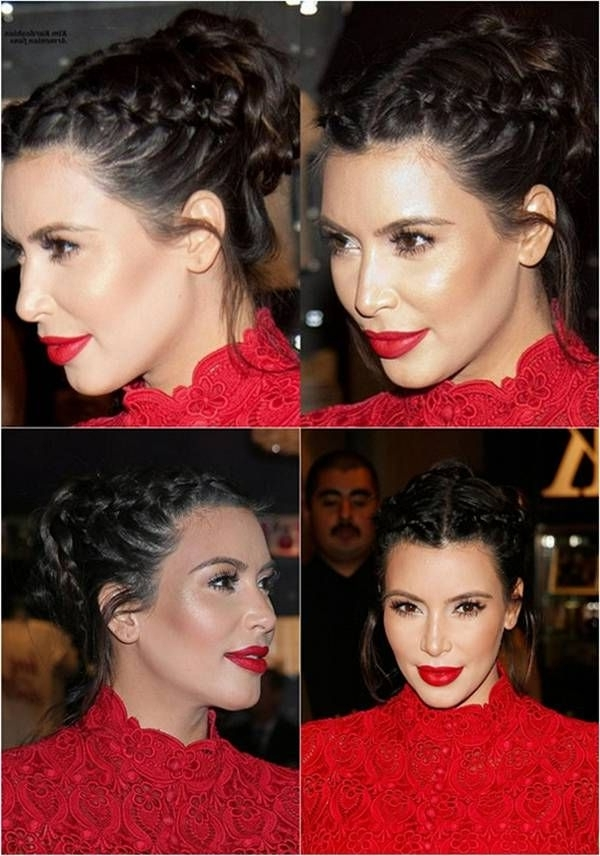Pinjaqui On Hair | Pinterest | Kardashian, Hair Style And Make Up In Most Up To Date Kim Kardashian Braided Hairstyles (View 8 of 15)
