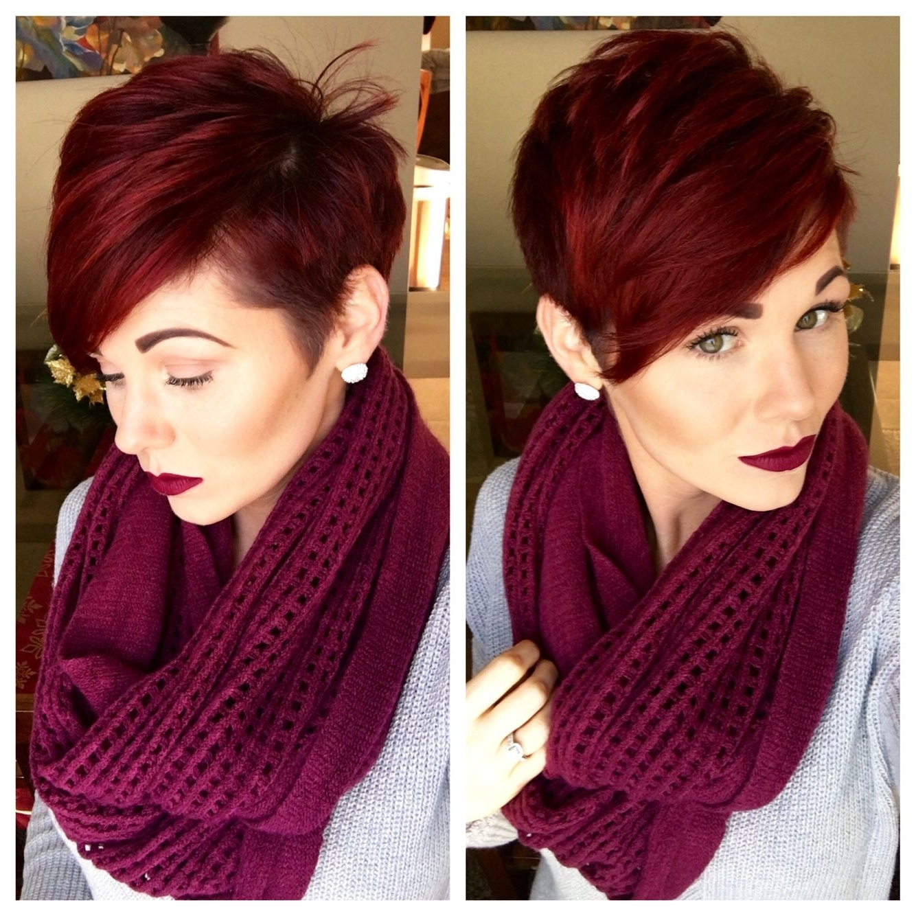 Pixie Cut And Red Violet Hair | Hairstyles/inspiration | Pinterest Regarding Newest Long Red Pixie Haircuts (View 6 of 15)