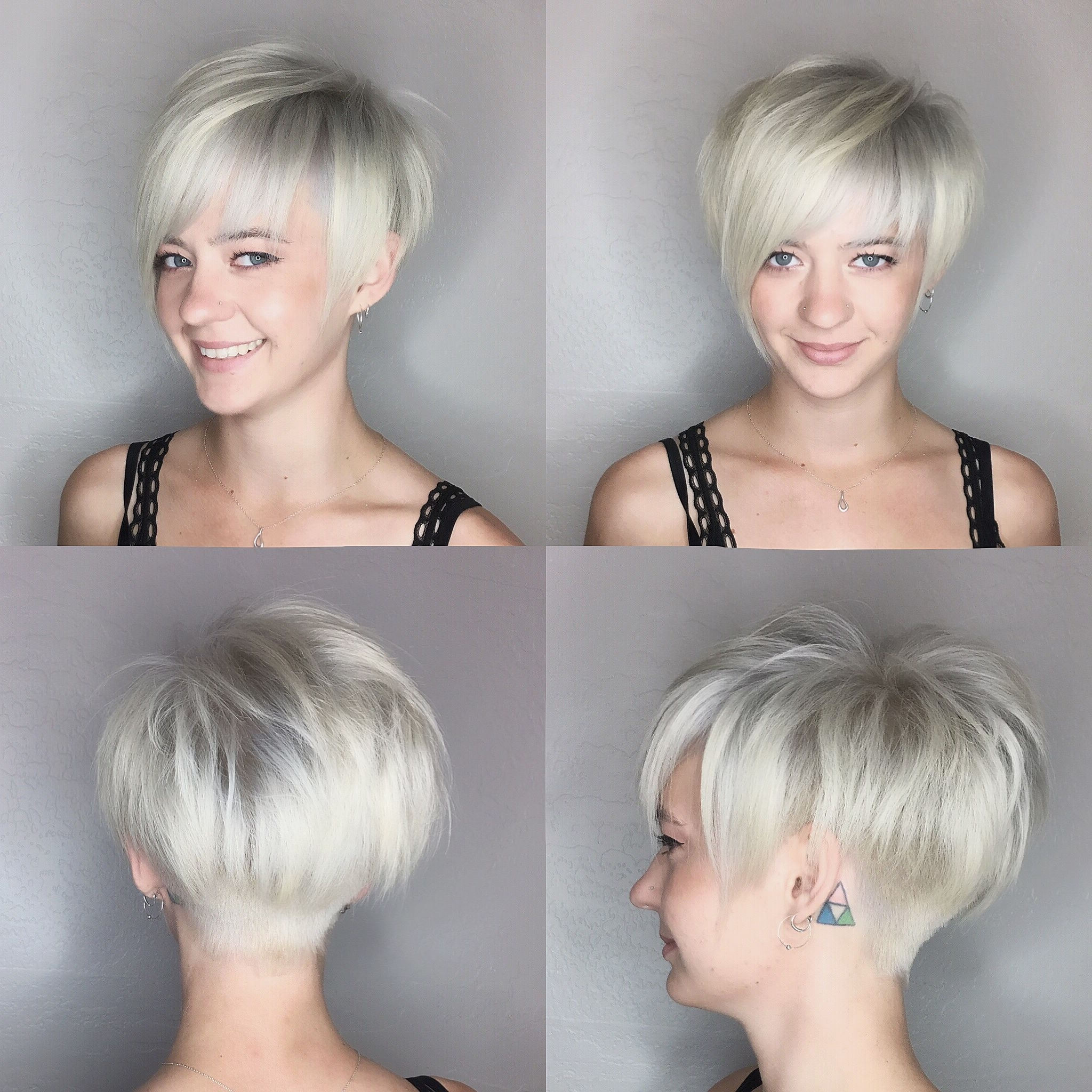 Pixie Haircut Platinum Blonde@leahfittsbeautydesign | Haare With Most Current Platinum Blonde Disheveled Pixie Haircuts (View 6 of 15)