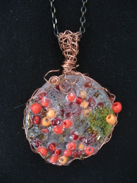 Plastic And Glass Seed Beads Melted To Create This Pendant, With With Current Ponytail Wrapped In Copper Wire And Beads (View 11 of 15)