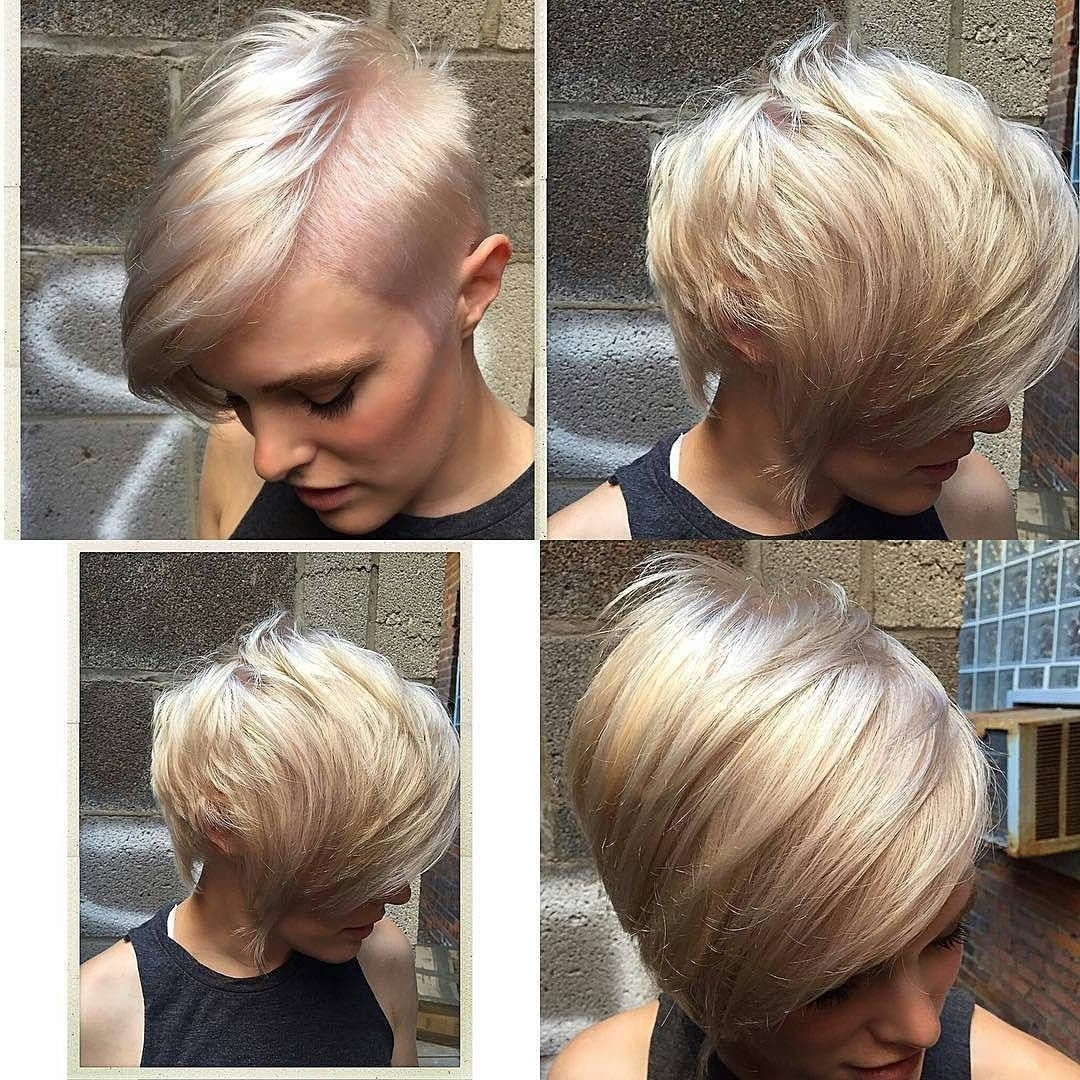Platinum Blonde Pixie With Undercut, Dramatic Part, And Asymmetrical With Regard To Most Current Platinum Blonde Disheveled Pixie Haircuts (View 8 of 15)