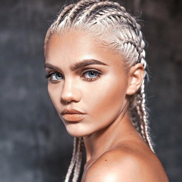 Platinum White, Bleach Blonde Cornrow Hair Style (View 4 of 15)