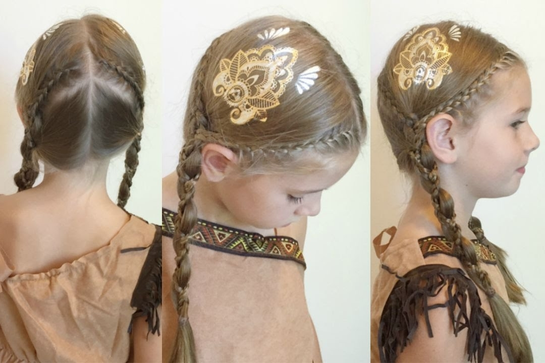 Pocahontas Inspired Braids With Scunci Hair Tattoos – Youtube Inside 2018 Pocahontas Braids Hairstyles (View 13 of 15)