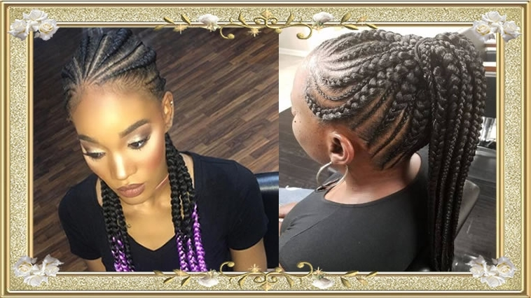 Ponytail Hairstyles With Box Braids For African Black Women – Hairstyles Pertaining To Most Current Black Braided Ponytail Hairstyles (View 11 of 15)