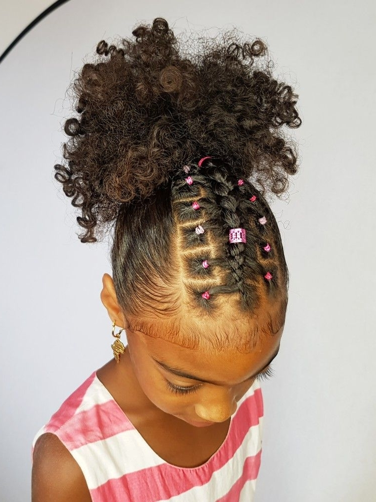 Ponytail With A Twist Hairstyles For Curly Little Girls | Hair Intended For Best And Newest Crossed Twists And Afro Puff Pony (View 4 of 15)