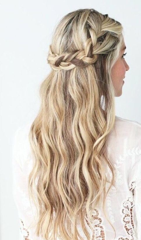 Pretty Half Up Crown Braid Braided Hairstyle Highlights | Earring Inside Latest Half Up And Braided Hairstyles (View 14 of 15)