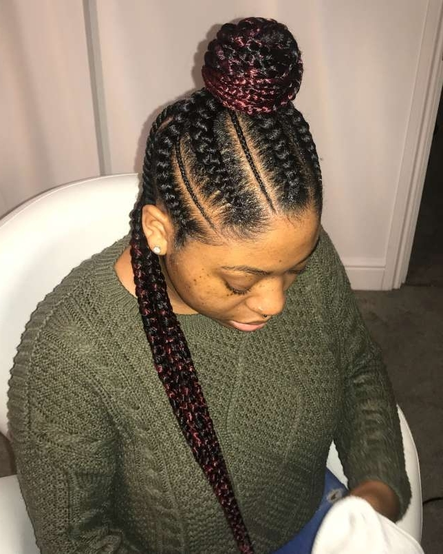 Protective Cute Half Top Bun Half Down Jumbo Cornrow Style – Beauty Regarding 2018 Half Up Half Down Cornrows Hairstyles (View 10 of 15)