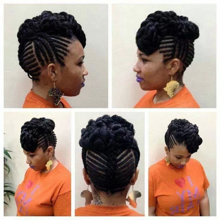 Protective Style | Naturalista | Pinterest | Protective Styles And For Most Current Natural Updo Cornrow Hairstyles (View 5 of 15)