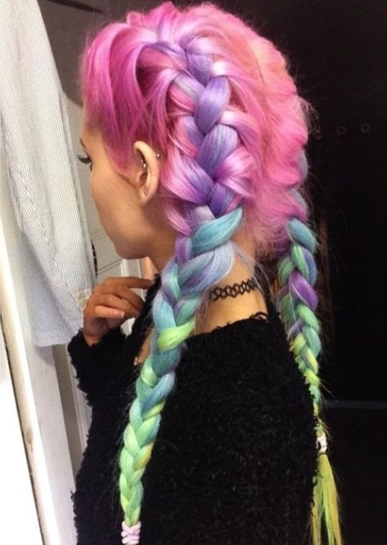 Rainbow Hair: 30 Crazy Rainbow Hair Color Inspirations Throughout 2018 Extra Long Blue Rainbow Braids Hairstyles (View 13 of 15)