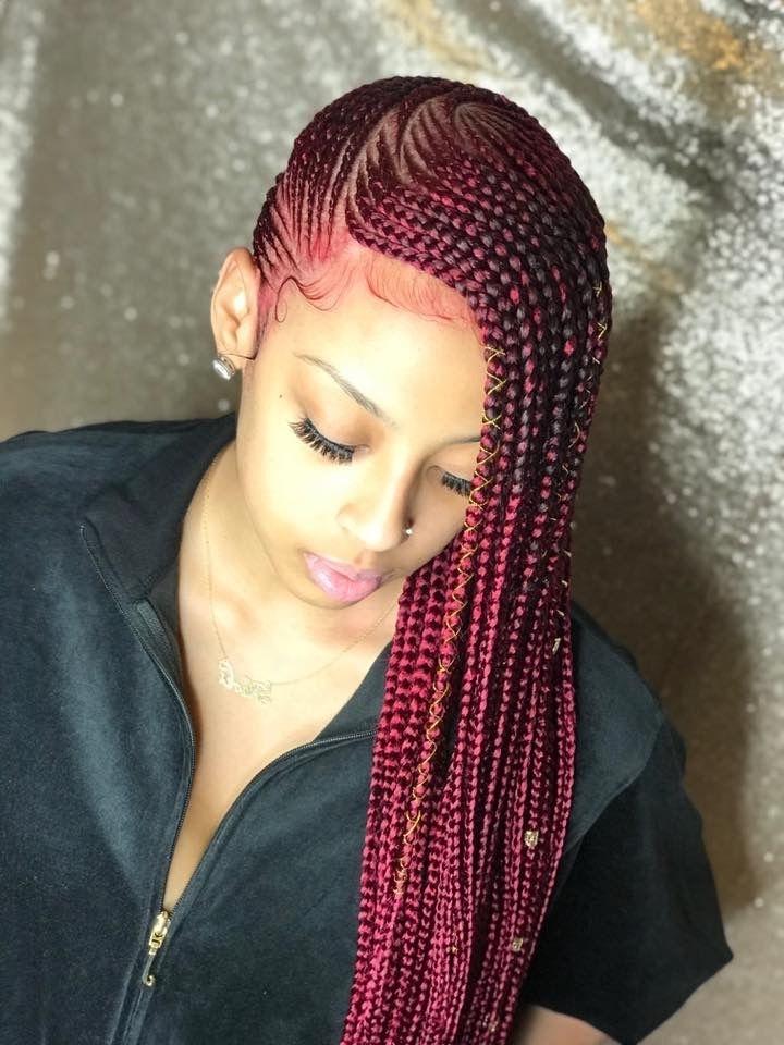 Red Lemonade Braids #lemonadebraids #beyonce #redbraids #redhair Regarding Newest Red Braided Hairstyles (View 3 of 15)