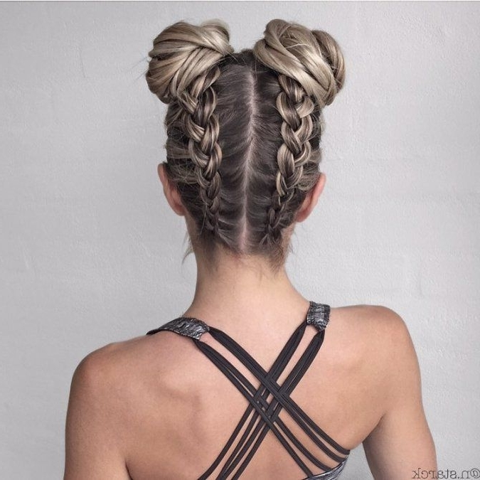 Say Hello To The New Instagram Trend : Two Buns Hairstyle | Modish In Newest Braided Bun With Two French Braids (View 11 of 15)