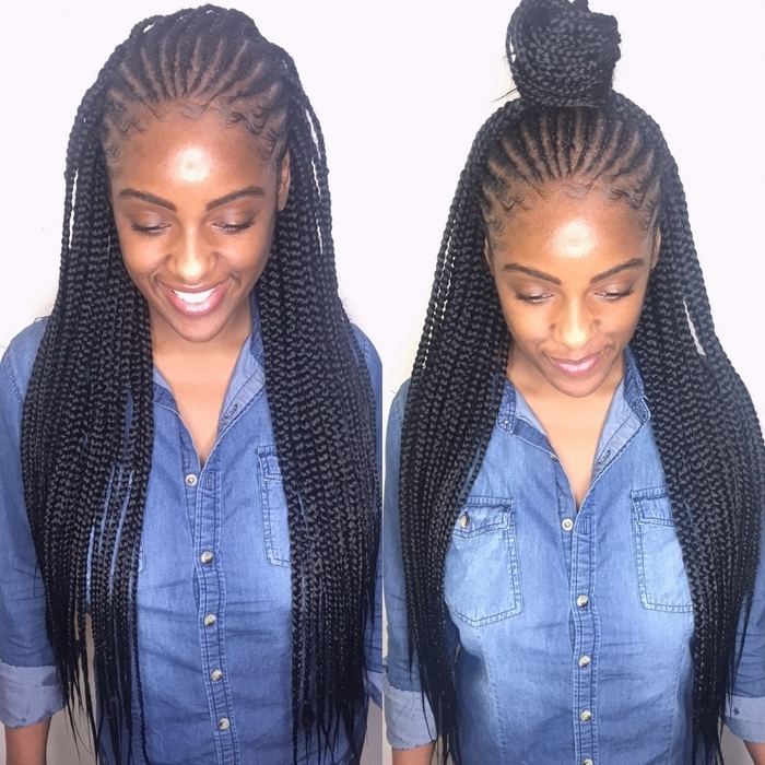 Schedule Appointment With Qthebraider Inside Most Popular Half Cornrows Half Individual Braids (View 2 of 15)