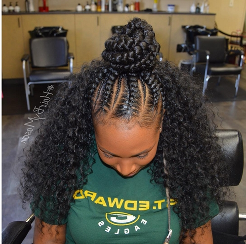 Sew In Hairstyles With Braid Half Up Half Down In Middle | Home Within Most Current Cornrows And Sew Hairstyles (View 4 of 15)