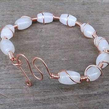 Shop Wire Wrapped Stone Bangles On Wanelo For Most Recently Ponytail Wrapped In Copper Wire And Beads (View 3 of 15)