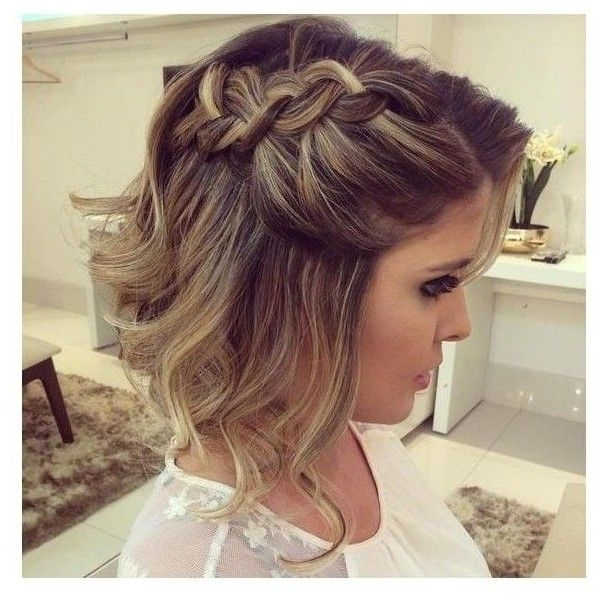Short Brown Blonde Highlighted Hair Braided Half Updo ? Liked On Throughout Newest Twisted Updo With Blonde Highlights (View 8 of 15)