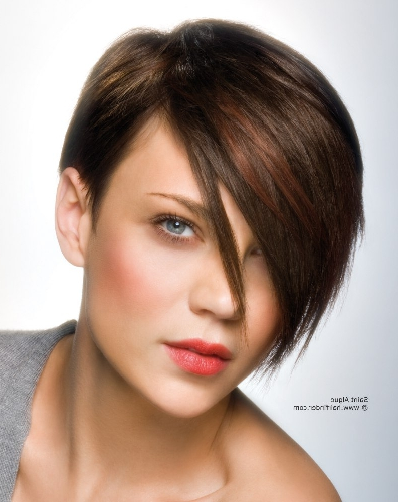 Explore Photos Of Long Tapered Pixie Haircuts With Side Bangs