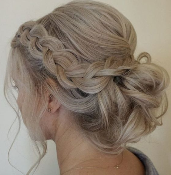 Side Braided Low Updo Wedding Hairstyle | Wedding Hairstyles With Regard To Best And Newest Formal Braided Bun Updo Hairstyles (View 5 of 15)