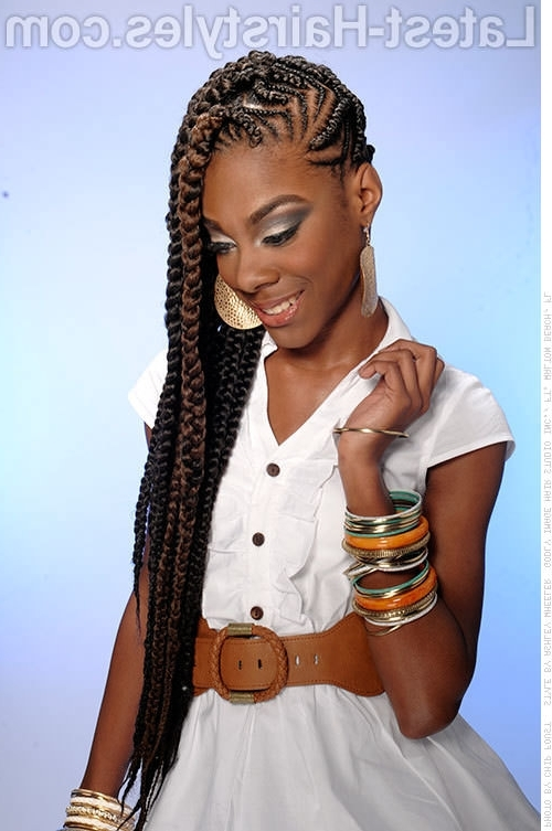 Side Cornrow Styles For Women Long Cornrow Hairstyle With A Hint Of Throughout Newest Cornrows Hairstyles With Color (View 13 of 15)
