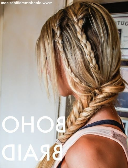 Side Fishtail With Two French Braids | Beautiful Hair | Pinterest With Recent Two French Braids And Side Fishtail (View 2 of 15)