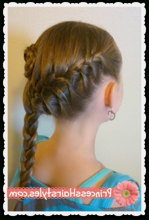 Side Swept French Braid Flower Hairstyle – Hairstyles For Girls In Recent Diagonal French Braid Hairstyles (View 15 of 15)