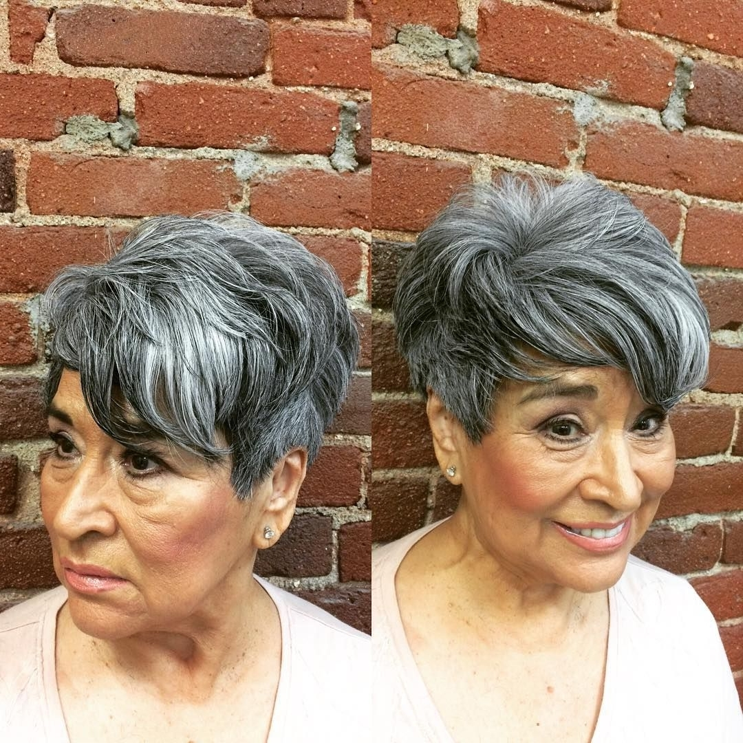 Silver Highlights Undercut Layered Pixie | Pixies & Short Hair Cuts Throughout Newest Tousled Pixie With Undercut (View 4 of 15)