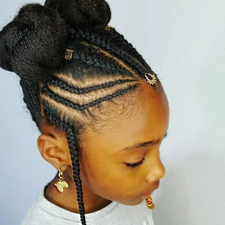 Featured Photo of Cornrows With Artistic Beaded Twisted Bun