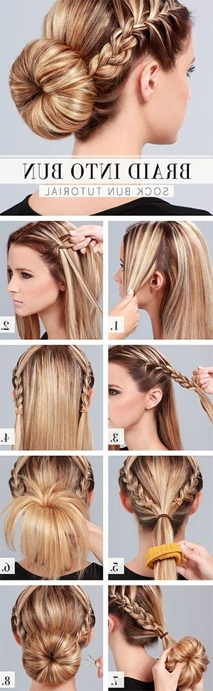 Sock Bun Hacks, Tips, Tricks; How To Wear Hair Up In Donut Pertaining To Most Up To Date Braid Into Sock Bun (View 14 of 15)