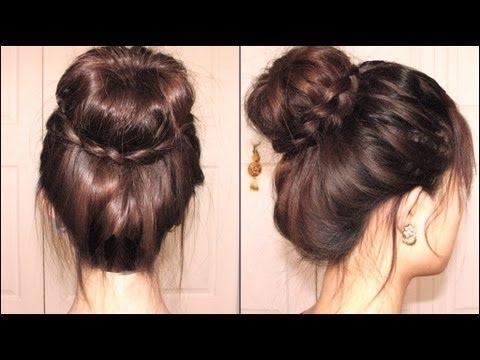 Sock Bun Hairstyle With Dutch Braid Pertaining To Most Up To Date Donut Bun Hairstyles With Braid Around (View 7 of 15)