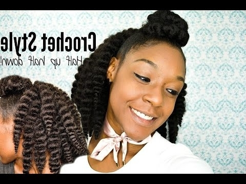 Soft Hair! Crochet Style! Half Up Half Down!! – Youtube Throughout Latest Half Up Half Down Cornrows Hairstyles (View 6 of 15)