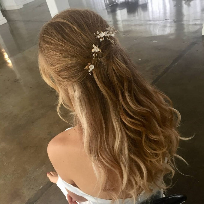 Soft Tendrils | Wedding Half Updo Styles We Are Coveting Right Now In Newest Half Updo Braids Hairstyles With Accessory (View 10 of 15)