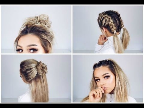 Space Buns – Double Bun – Upside Down Dutch Braid Into Messy Buns Inside Best And Newest Upside Down Braids With Double Buns (View 14 of 15)