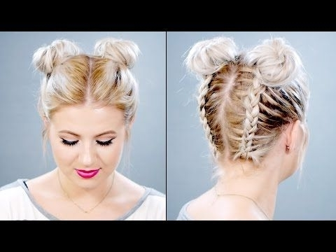 Space Buns – Double Bun – Upside Down Dutch Braid Into Messy Buns With Regard To Newest Upside Down Braids With Double Buns (View 9 of 15)